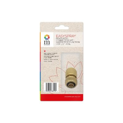 """BRASS HOSE CONNECTOR WITH STOP FUNCTION FOR 1/2"""" HOSE"""